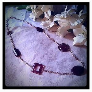 Vintage Large Geometric Shape Lucite Beads Necklac